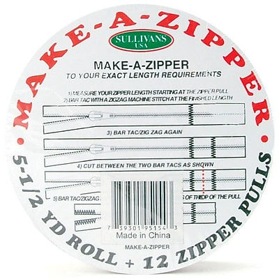 Make-A-Zipper Kit, 5-1/2yd, White