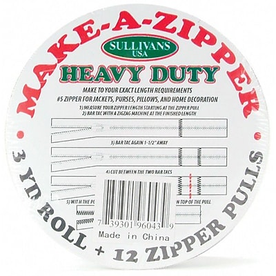 Make-A-Zipper Kit Heavy Duty, 3yd, White