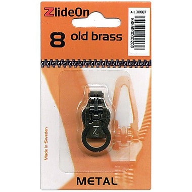 ZlideOn Zipper Pull Replacements Metal, Size 8, Old Brass