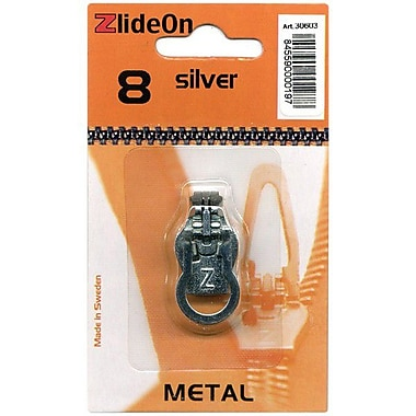 ZlideOn Zipper Pull Replacements Metal, Size 8, Silver