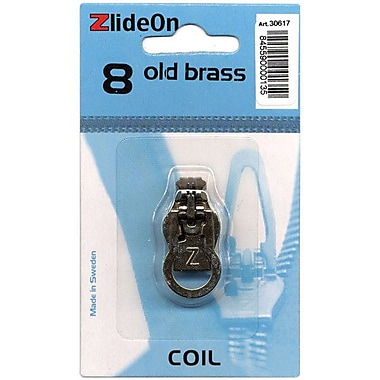 ZlideOn Zipper Pull Replacements Coil, Size 8, Old Brass