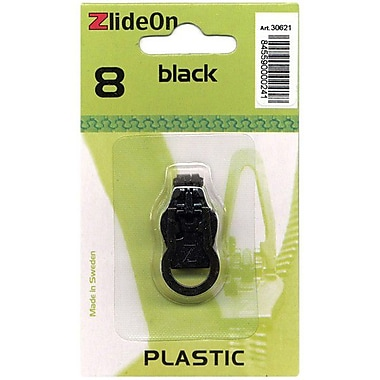 ZlideOn Zipper Pull Replacements Plastic, Size 8, Black