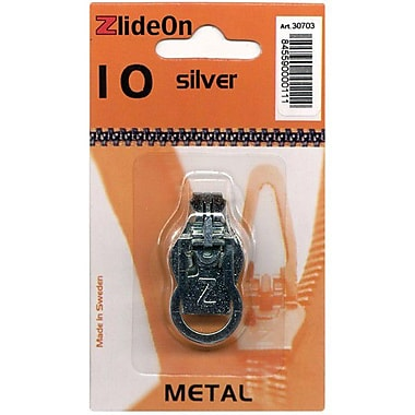 ZlideOn Zipper Pull Replacements Metal, Size 10, Silver