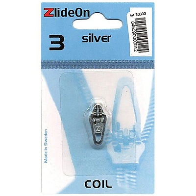 ZlideOn Zipper Pull Replacements Coil, Size 3, Silver