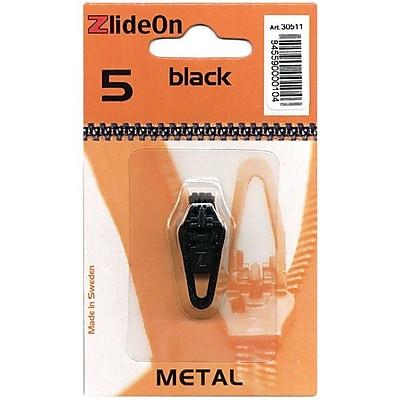 ZlideOn Zipper Pull Replacements Metal, Size 5, Black
