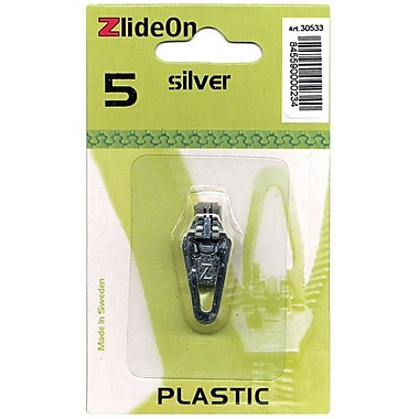 ZlideOn Zipper Pull Replacements Plastic, Size 5, Silver
