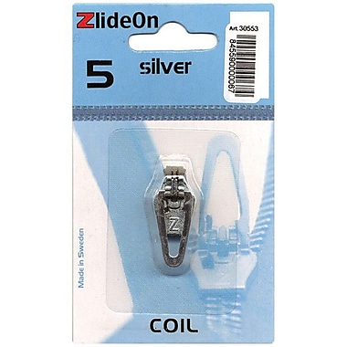 ZlideOn Zipper Pull Replacements Coil, Size 5, Silver