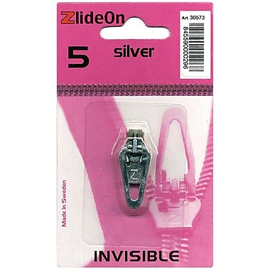 ZlideOn Zipper Pull Replacements Invisible, Size 5, Silver