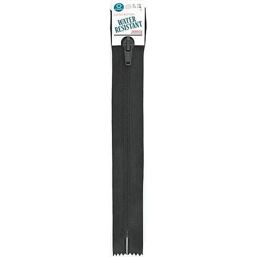 "Water Resistant Closed Bottom Zipper, 9"", Black"