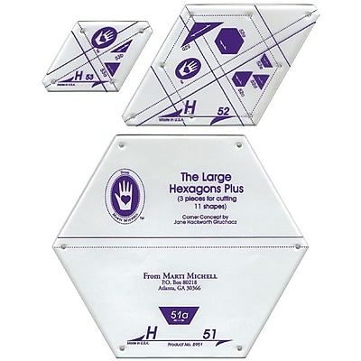 Perfect Patchwork Template, Set H - Large Hexagon Set 3/Pkg