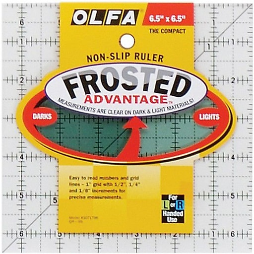 """Olfa Frosted Advantage Non-Slip Ruler, """"The Compact"""", 6-1/2""""X6-1/2"""""""