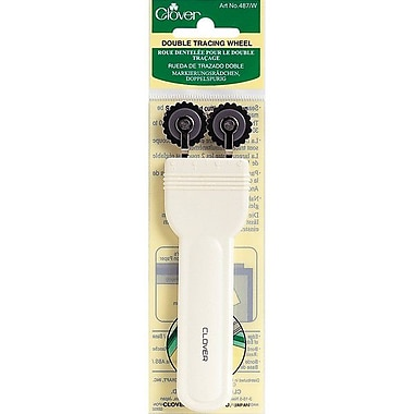 Double Tracing Wheel, White Handle Serrated Edge