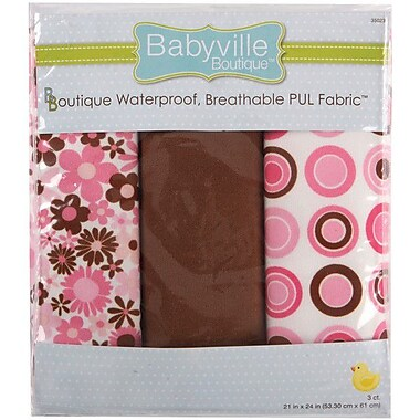 Babyville PUL Waterproof Diaper Fabric, Mod Girl Flowers & Dots, 21