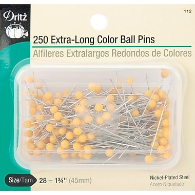 Dritz Extra Long Color Ball Pins, Size 28, 250/Pack