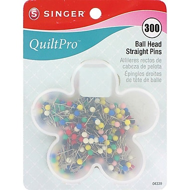 Singer QuiltPro Ball Head Straight Pins In Flower Case 1-1/16