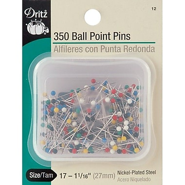 Dritz Color Ball Point Pins, Size 17, 350/Pack