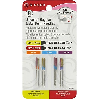 Singer Universal & Ball Point Machine Needles Assorted Sizes, 8/Pack