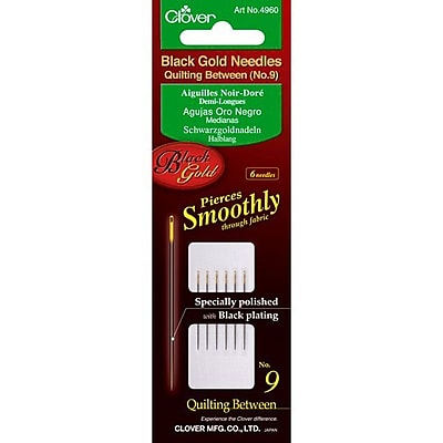 Clover Black Gold Quilting Betweens Needles, Size 9, 6/Pack
