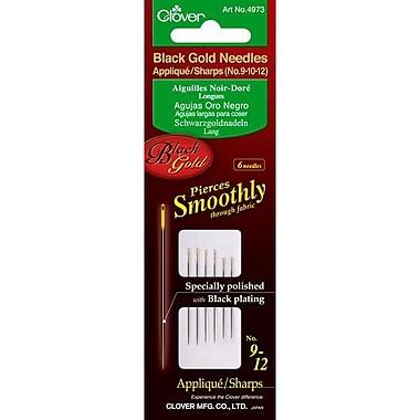 Clover Black Gold Applique/Sharps Needles, Size 9/10/12, 6/Pack