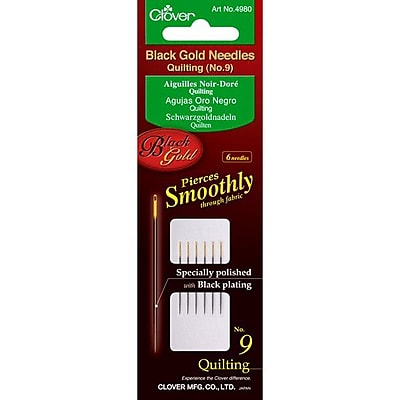 Clover Black Gold Quilting Needles, Size 9, 6/Pack