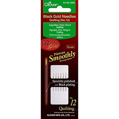 Clover Black Gold Quilting Needles, Size 12, 6/Pack