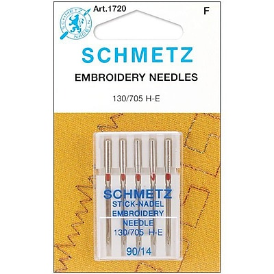 Euro-Notions Embroidery Machine Needles, Size 14/90, 5/Pack