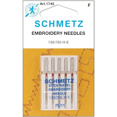 Embroidery Machine Needles, Size 11/75, 5/Pkg