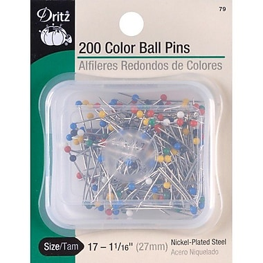 Dritz Color Ball Pins, Size 17, 200/Pack
