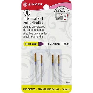 Ball Point Machine Needles, Size 16/100, 4/Pkg
