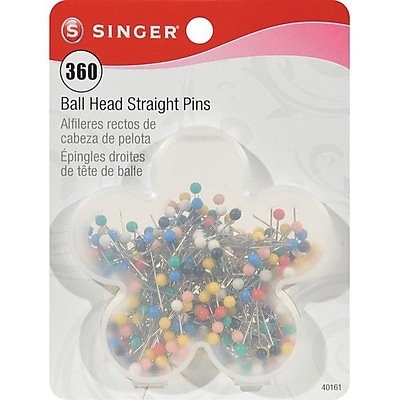 Singer Ball Head Quilting Pins In Flower Box 1-1/16