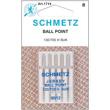 Ball Point Jersey Machine Needles, Size 12/80, 5/Pkg