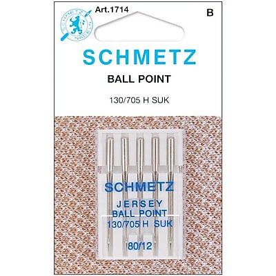 Ball Point Jersey Machine Needles; Size 12/80, 5/Pkg