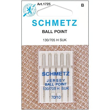 Euro-Notions Ball Point Jersey Machine Needles, Size 10/70, 5/Pack