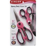 "Singer Professional Series 00555 Sharp Tip 5.5"", 8"" Heavy Duty Scissors, Pink/Black"