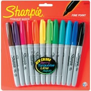 Sharpie Thinner Fine Point Permanent Marker, Assorted, 12/Pack
