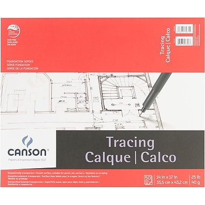 Canson 702323 White Foundation Series Tracing Paper Pad, 17