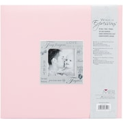 "MBI® Expressions Fabric Cover Postbound Album With Window, 12"" x 12"", Baby Pink"