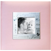 "MBI® 8 1/2"" x 8 1/2"" Fabric Expressions Photo Album With 200 Pockets, Baby Pink"