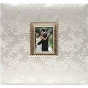 """MBI® Expressions Floral Fabric Postbound Album With Window, 12"""" x 12"""", White-On-White"""