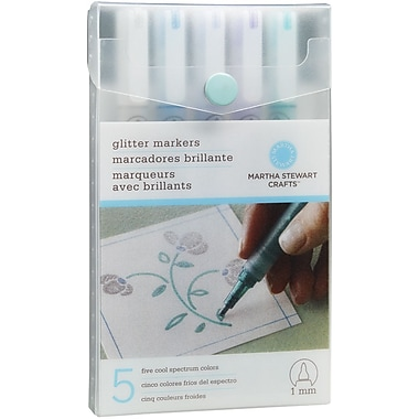 Martha Stewart Bold Point Cool Spectrum Glitter Marker, Assorted, 5/Pack