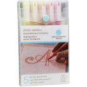 Martha Stewart Bold Point Warm Spectrum Glitter Marker, Assorted, 5/Pack