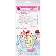"""Art Impressions Girlfriends 10"""" x 4 1/2"""" Cling Stamp, Comfy On The Couch Set"""