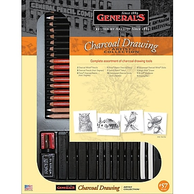 General's Pencil 57RETRO Drawing Pencil Set, Charcoal