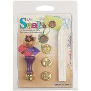 Manuscript Pen Decorative Sealing Set W/Pearl Wax Baby Feet, Pram & Rocking Horse Coins