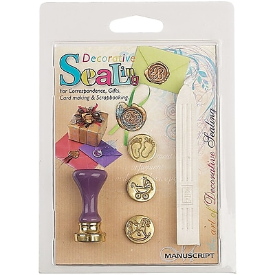 Manuscript Pen Decorative Sealing Set W/Pearl Wax Baby Feet, Pram & Rocking Horse Coins