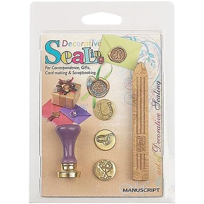 Manuscript Pen Decorative Sealing Set W/Gold Wax Rings, Horseshoe & Glasses Coins