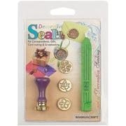 Manuscript Pen Decorative Sealing Set W/Green Wax Flower, Leaf & Snowflake Coins