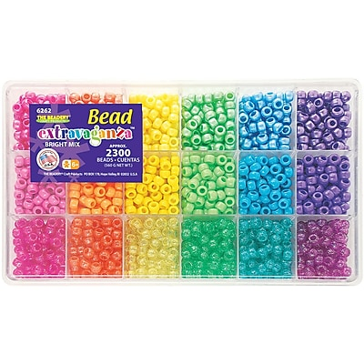 Beadery Giant Extravaganza Bead Box Kit, Brights, 2300 Beads/Pack