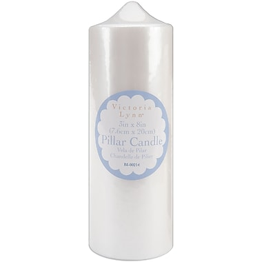 Darice BI-00214 Pearlescent White Pillar Candle, 8
