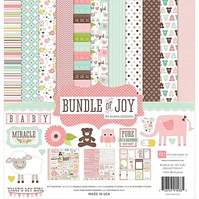 Echo Park Paper Bundle Of Joy Girl Collection Kit, 12